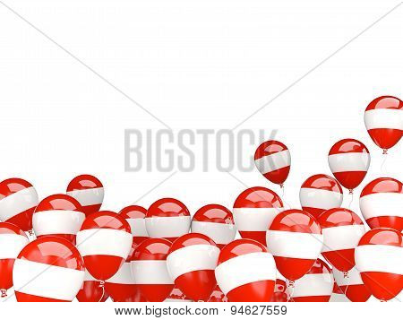 Flying Balloons With Flag Of Austria