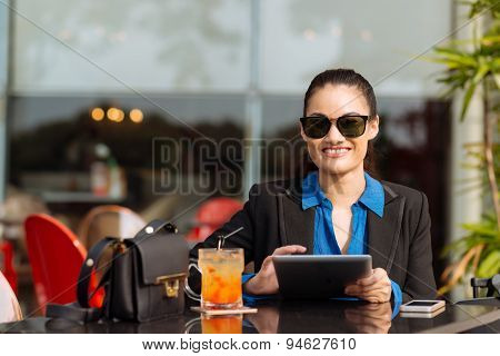 Cheerful Business Lady With Tablet