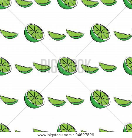 Seamless pattern with half and quartered lime