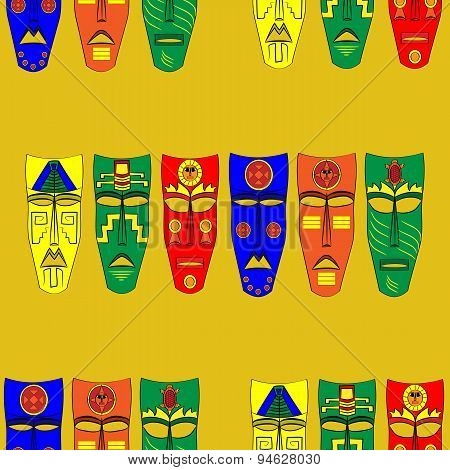 Inca masks. Seamless background pattern. Mexican Mask