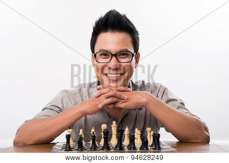 Happy Asian Chess Player