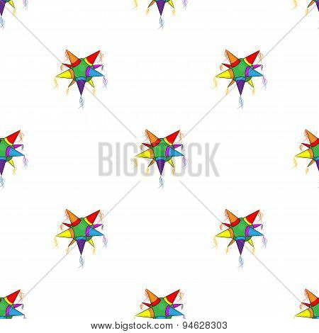 Mexican star pinata pattern on white background
