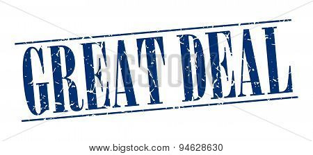 Great Deal Blue Grunge Vintage Stamp Isolated On White Background