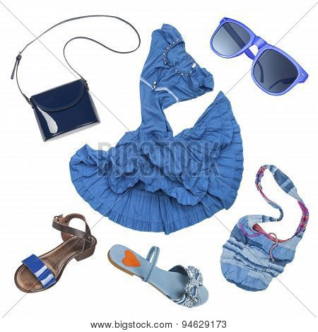 Lady Fashion Set Of Summer Outfit Blue Color Isolated