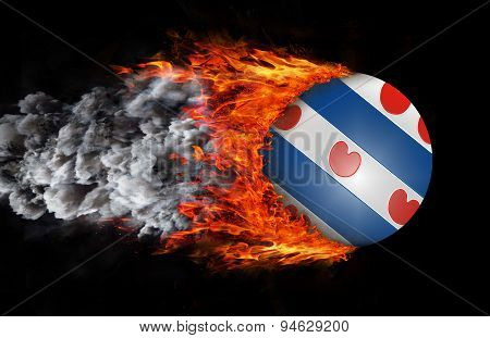 Flag With A Trail Of Fire And Smoke - Friesland
