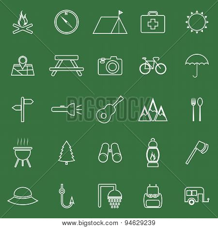 Camping Line Icons On Green Background
