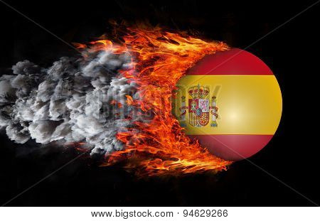 Flag With A Trail Of Fire And Smoke - Spain