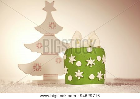 Green Christmas Cake With Christmas Tree Decoration