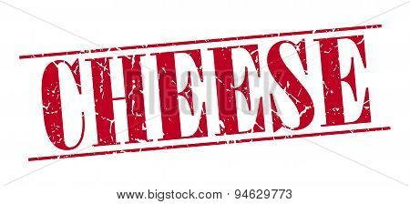 Cheese Red Grunge Vintage Stamp Isolated On White Background