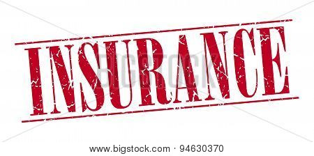 Insurance Red Grunge Vintage Stamp Isolated On White Background