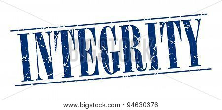 Integrity Blue Grunge Vintage Stamp Isolated On White Background