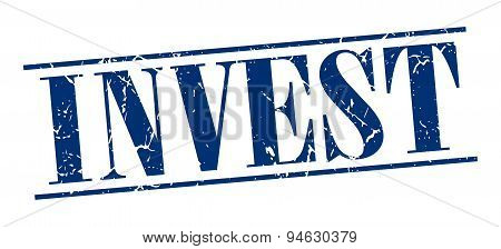 Invest Blue Grunge Vintage Stamp Isolated On White Background