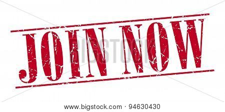 Join Now Red Grunge Vintage Stamp Isolated On White Background