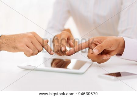 Pointing At The Digital Tablet