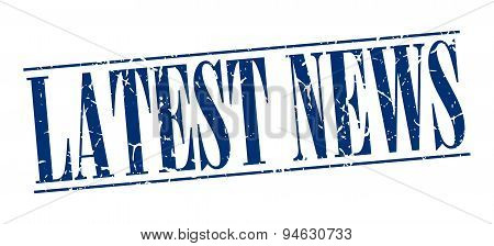 Latest News Blue Grunge Vintage Stamp Isolated On White Background