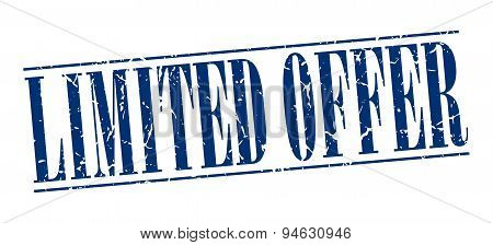 Limited Offer Blue Grunge Vintage Stamp Isolated On White Background