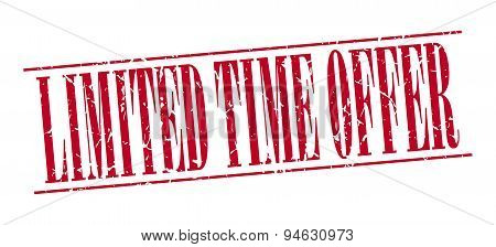 Limited Time Offer Red Grunge Vintage Stamp Isolated On White Background