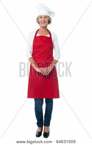 Female Chef Posing Over White
