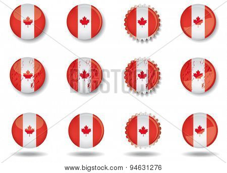 Canadian buttons set. A set of web buttons with the canadian flag