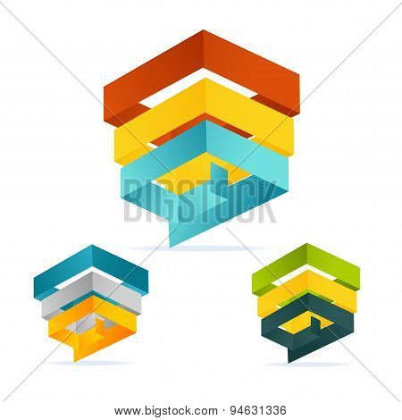 Vector pyramid chart isometric templates with options set