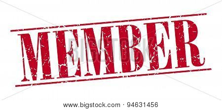 Member Red Grunge Vintage Stamp Isolated On White Background