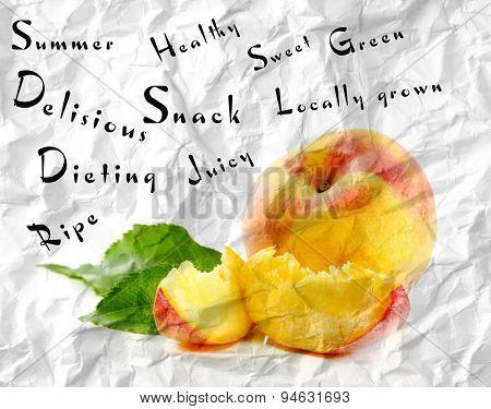 Fresh peach and words around on grey background