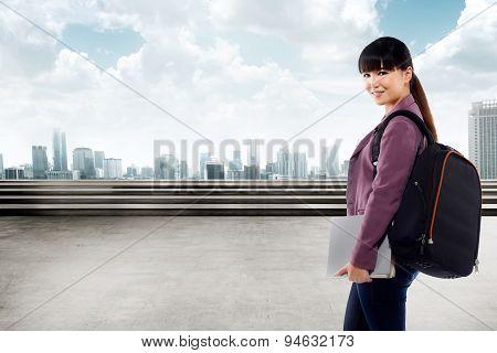 Asian Female Student Smiling