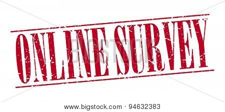 Online Survey Red Grunge Vintage Stamp Isolated On White Background