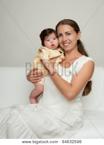 mother and baby on white background