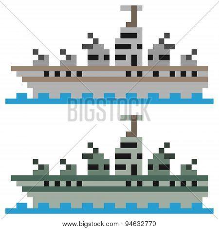 illustration pixel art battleship