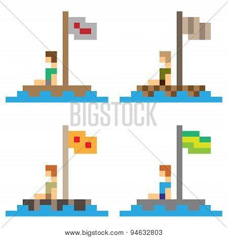 illustration pixel art wooden raft