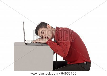 Asian Business Man Sleeping Working With Laptop