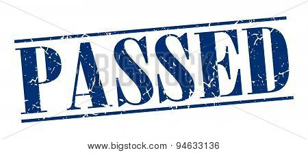 Passed Blue Grunge Vintage Stamp Isolated On White Background