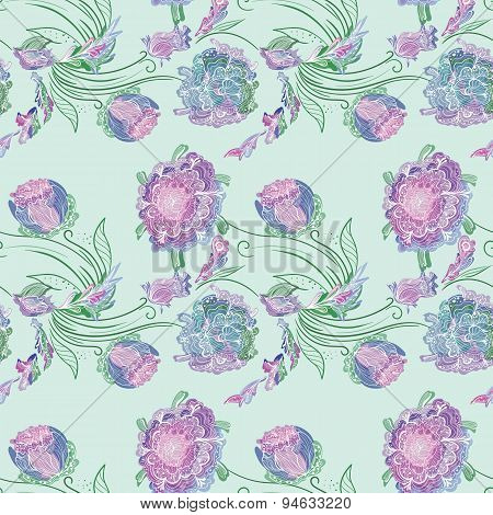 Japan Style Provence Floral Vector Pattern