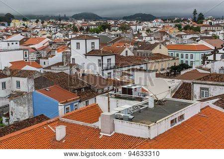 PONTA DELGADA, PORTUGAL - JUN 15, 2015: Top view of center of Ponta Delgada (Azores). City is located on Sao Miguel Island (232.99 km2) Region capital under the revised constitution of 1976.