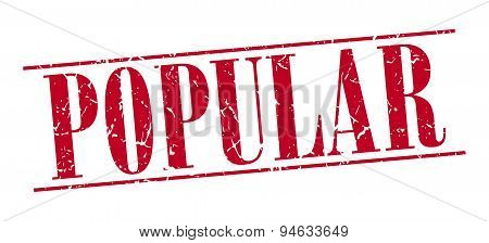 Popular Red Grunge Vintage Stamp Isolated On White Background