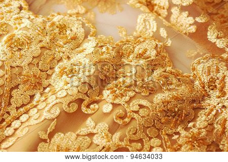 Gold Evening Dress Closeup