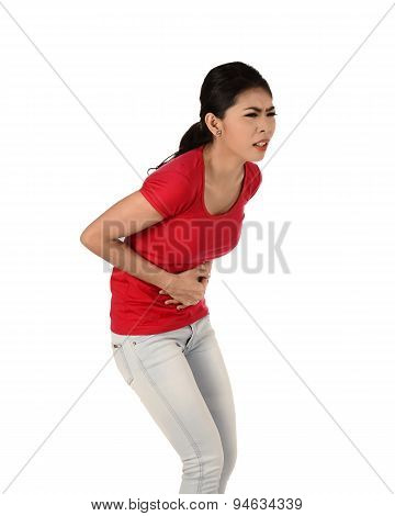 Asian Woman Have Stomach Ache