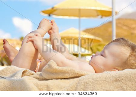Summer Concept. Happy Baby On Beach.