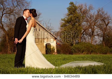 Bride And Groom At Countryside