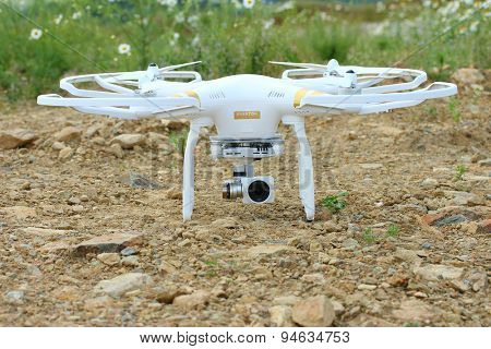 PILSEN CZECH REPUBLIC - JUNE 28, 2015: Drone quadrocopter Dji Phantom 3 Professional with high resolution digital camera. New tool for aerial photo and video.