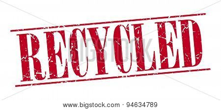 Recycled Red Grunge Vintage Stamp Isolated On White Background