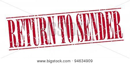 Return To Sender Red Grunge Vintage Stamp Isolated On White Background