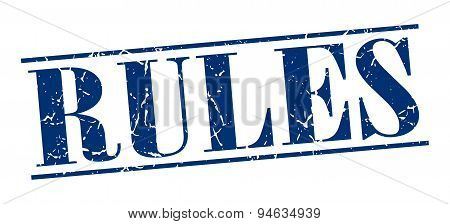 Rules Blue Grunge Vintage Stamp Isolated On White Background