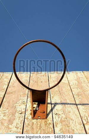 Old Rusty Basketball Hoop And Board