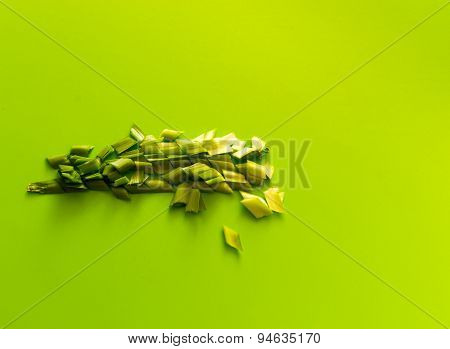 Chopped Spring Onions On Green Background