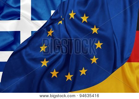 Greece, Germany and E.U flags on silk texture