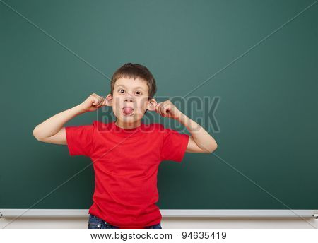 boy near the school board