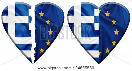 Greece and E.U flags on silk texture embedded into heart shapes