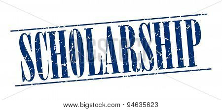 Scholarship Blue Grunge Vintage Stamp Isolated On White Background